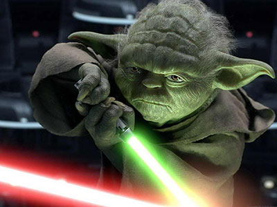 Yoda with a lightsaber